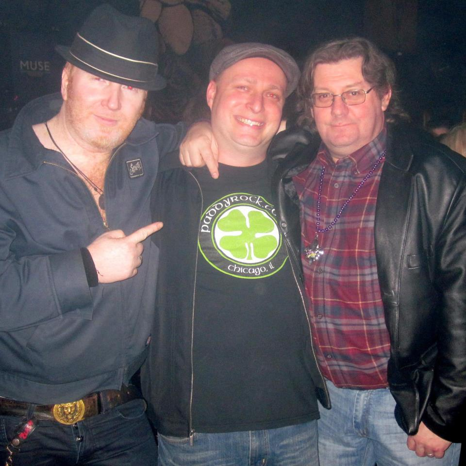 Finny from The Mahones, DJ John B, and Jake Burns from Stiff Little Fingers